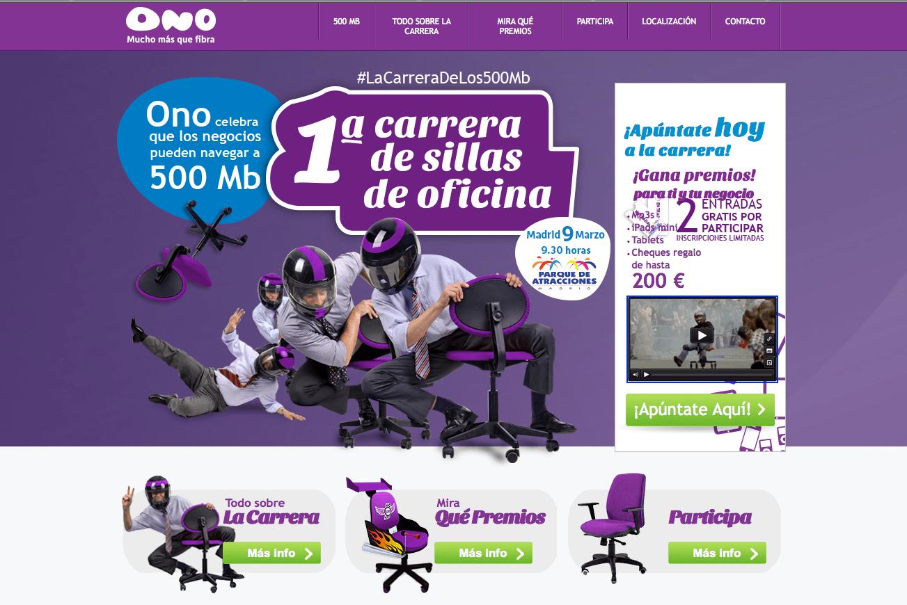 Ono celebra sus 500 megas con la primera carrera con for Ono oficinas